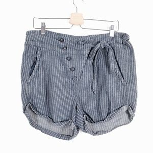 Free People Shorts - FREE PEOPLE Chambray Linen Blend Striped Shorts M
